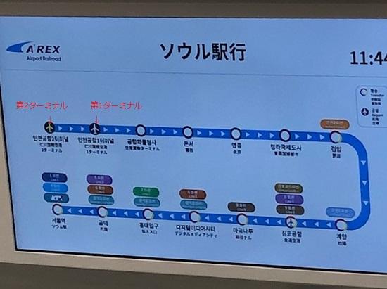 仁川空港第2ターミナルから第1ターミナルまでの路線図