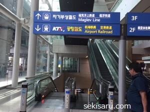 仁川空港の電車乗り場の案内板