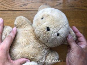 洗ったクマのぬいぐるみ形を整える
