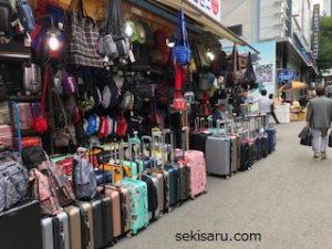 南大門市場のカバン店
