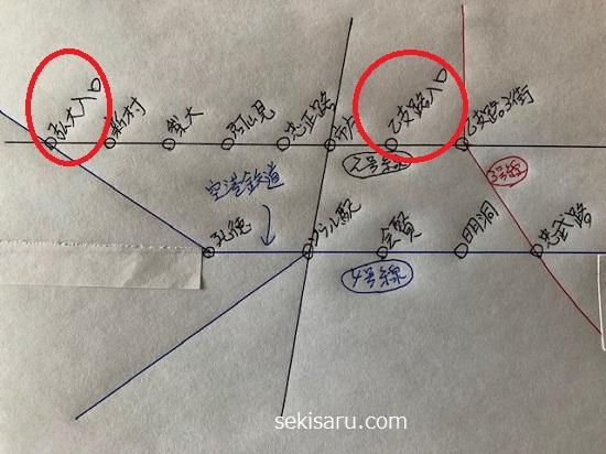 乙支路入口駅から弘大入口駅までの地下鉄路線図
