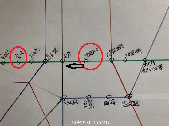 乙支路入口から梨大駅までの地下鉄路線図