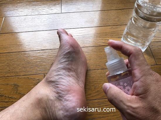 足全体に10倍に薄めたミョウバン水原液をスプレーで拭きかける