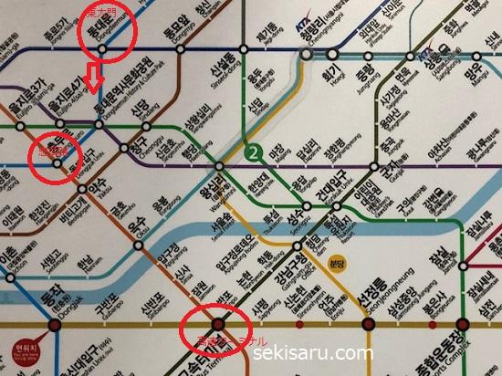 東大門から高速ターミナルまでの地下鉄路線図