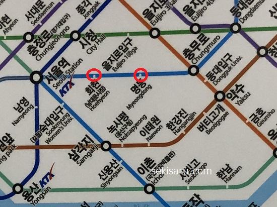 明洞から会賢(フェヒョン)までの地下鉄路線図