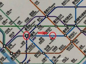 ソウル駅から明洞駅までの地下鉄路線図