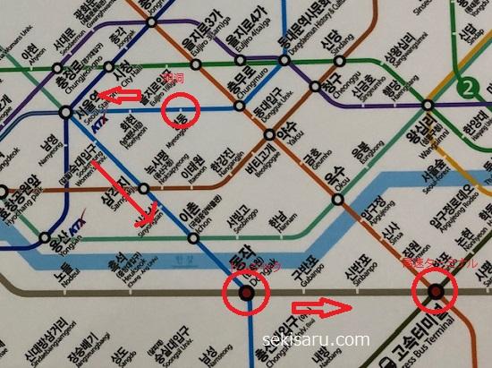明洞から高速ターミナルまでの地下鉄路線図
