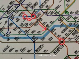 明洞から高速ターミナルまでの4号線と3号線を使っての地下鉄路線図