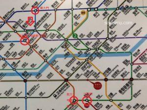 東大門から江南までの地下鉄路線図