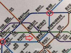 ソウル駅から東大門までの地下鉄路線図