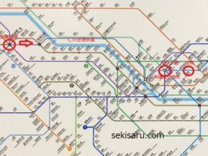 金浦空港から明洞までの電車路線図
