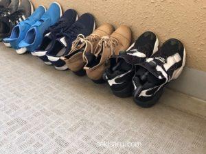 風通しの良い場所で靴を干す