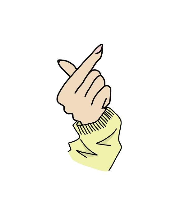 指ハートのイラスト